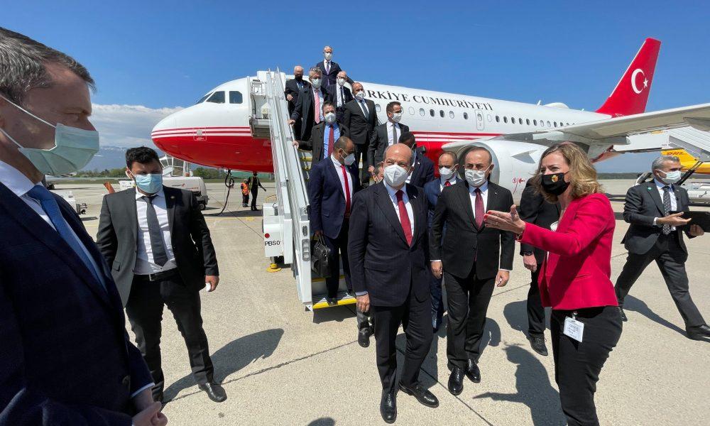 KKTC Cumhurbaşkanı Ersin Tatar, KKTC Başbakanı Ersan Saner, Dışişleri Bakanı Mevlüt Çavuşoğlu, KKTC Dışişleri Bakanı Tahsin Ertuğruloğlu ve beraberindeki heyet, Birleşmiş Milletler öncülüğünde düzenlenecek gayri resmi ''Kıbrıs Konferansı''na katılmak üzere İsviçre'nin Cenevre kentine geldi. ( Cem Özdel - Anadolu Ajansı )