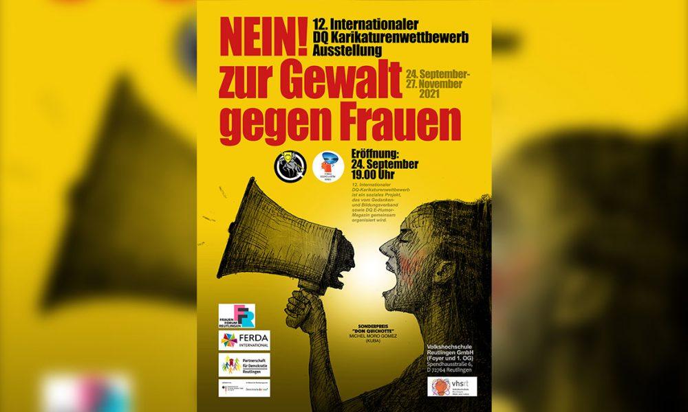 """12. Don Quichotte Uluslararası Karikatür Yarışması: """"Kadına yönelik şiddete hayır!"""" sergisi Reutlingen'de açıldı"""