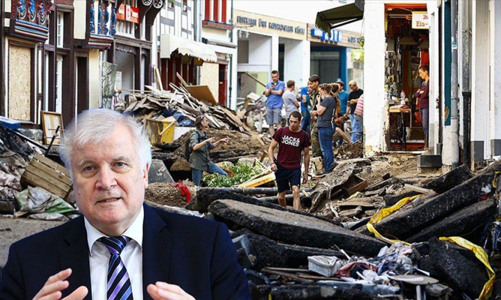 """Almanya İçişleri Bakanı Seehofer, selden etkilenen bölgedeydi: """"İnanılmaz trajedi"""""""