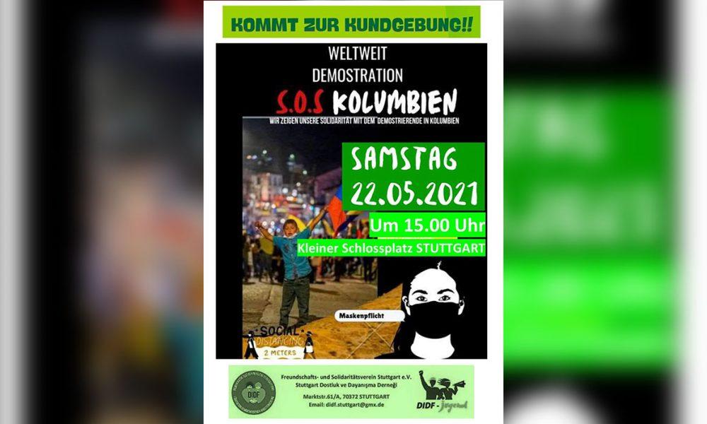 Stuttgart da dayanışma içinde: Dünya çapında eşzamanlı Kolombiya gösterileri